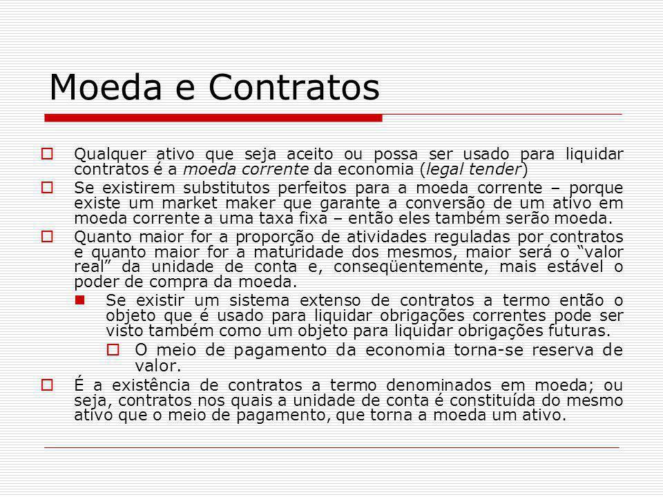 Moeda e Contratos Qualquer ativo que seja aceito ou possa ser usado para liquidar contratos é a moeda corrente da economia (legal tender)
