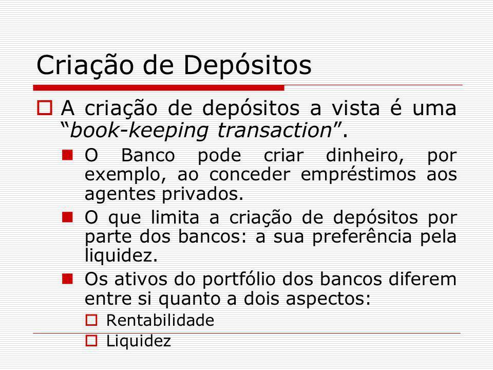 Criação de Depósitos A criação de depósitos a vista é uma book-keeping transaction .