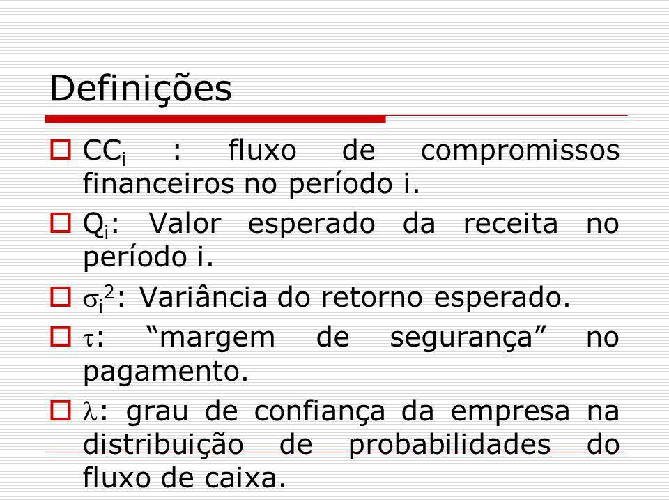 Definições CCi : fluxo de compromissos financeiros no período i.