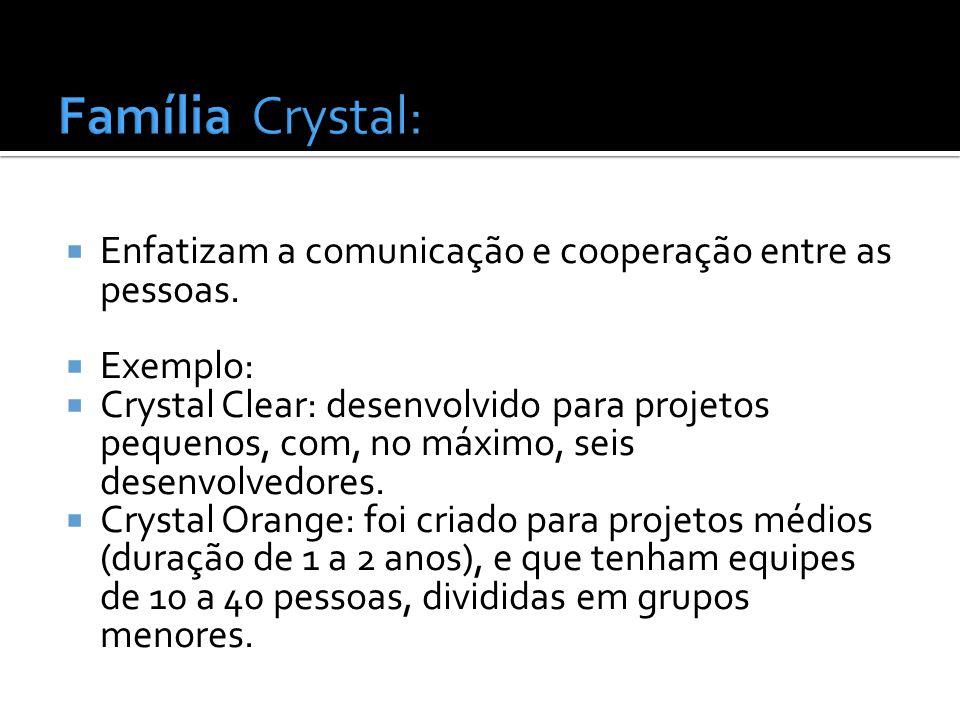 Família Crystal: Enfatizam a comunicação e cooperação entre as pessoas. Exemplo: