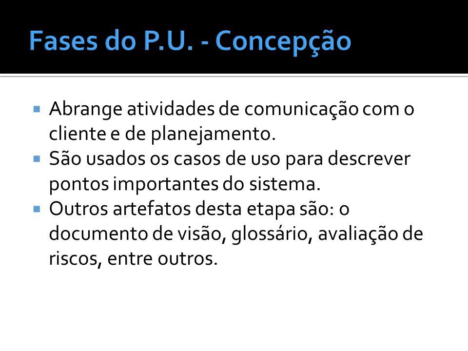 Fases do P.U. - Concepção Abrange atividades de comunicação com o cliente e de planejamento.