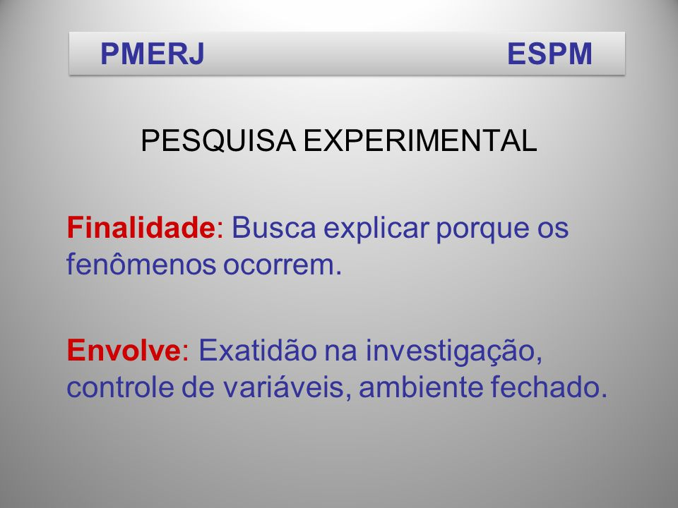 PESQUISA EXPERIMENTAL