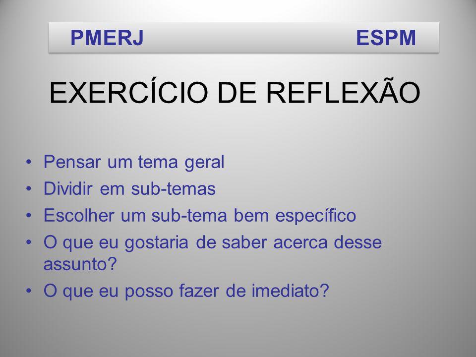 EXERCÍCIO DE REFLEXÃO PMERJ ESPM Pensar um tema geral