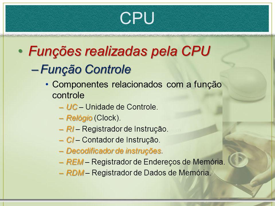 CPU Funções realizadas pela CPU Função Controle