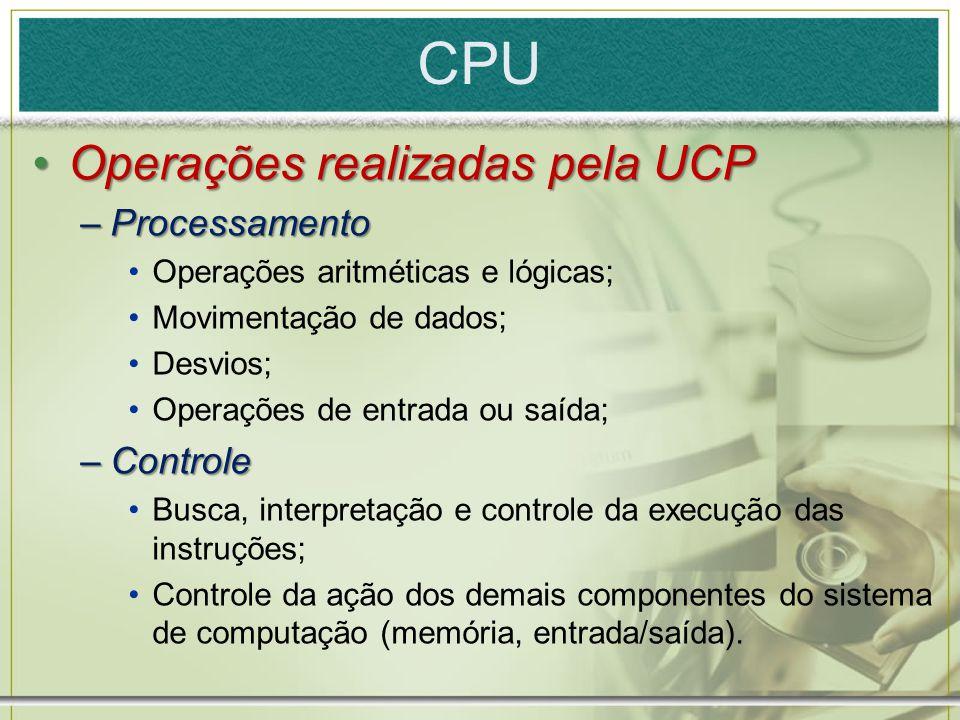 CPU Operações realizadas pela UCP Processamento Controle