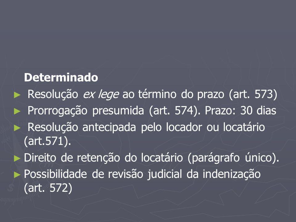 Determinado Resolução ex lege ao término do prazo (art. 573) Prorrogação presumida (art. 574). Prazo: 30 dias.