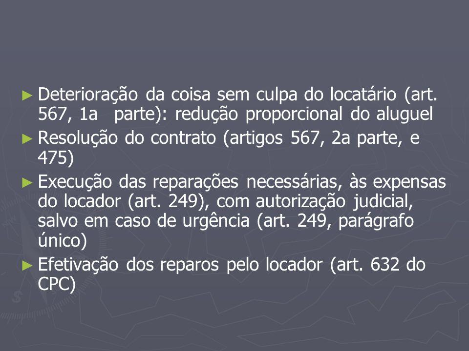 Deterioração da coisa sem culpa do locatário (art. 567, 1a