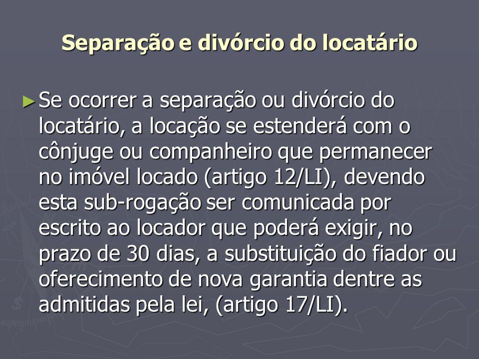 Separação e divórcio do locatário