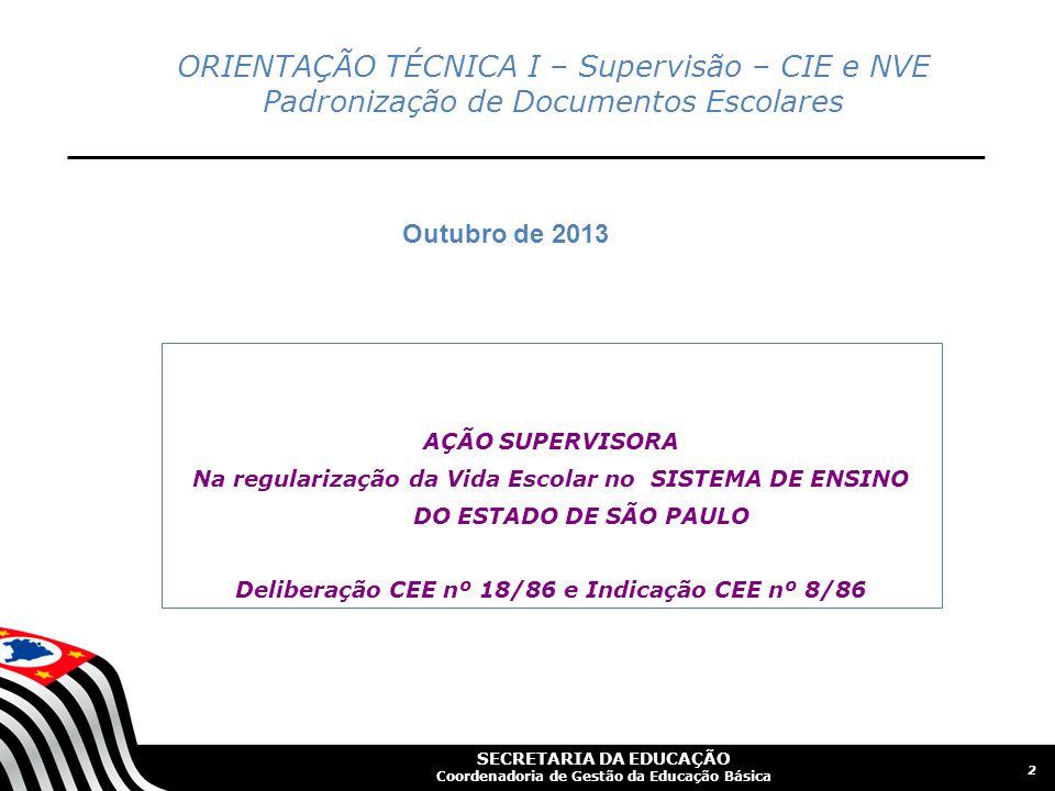 Deliberação CEE nº 18/86 e Indicação CEE nº 8/86