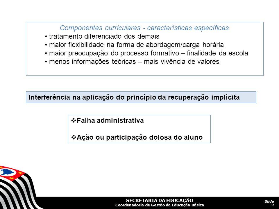 Componentes curriculares - características específicas