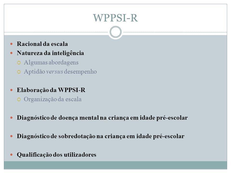 WPPSI-R Racional da escala Natureza da inteligência Algumas abordagens