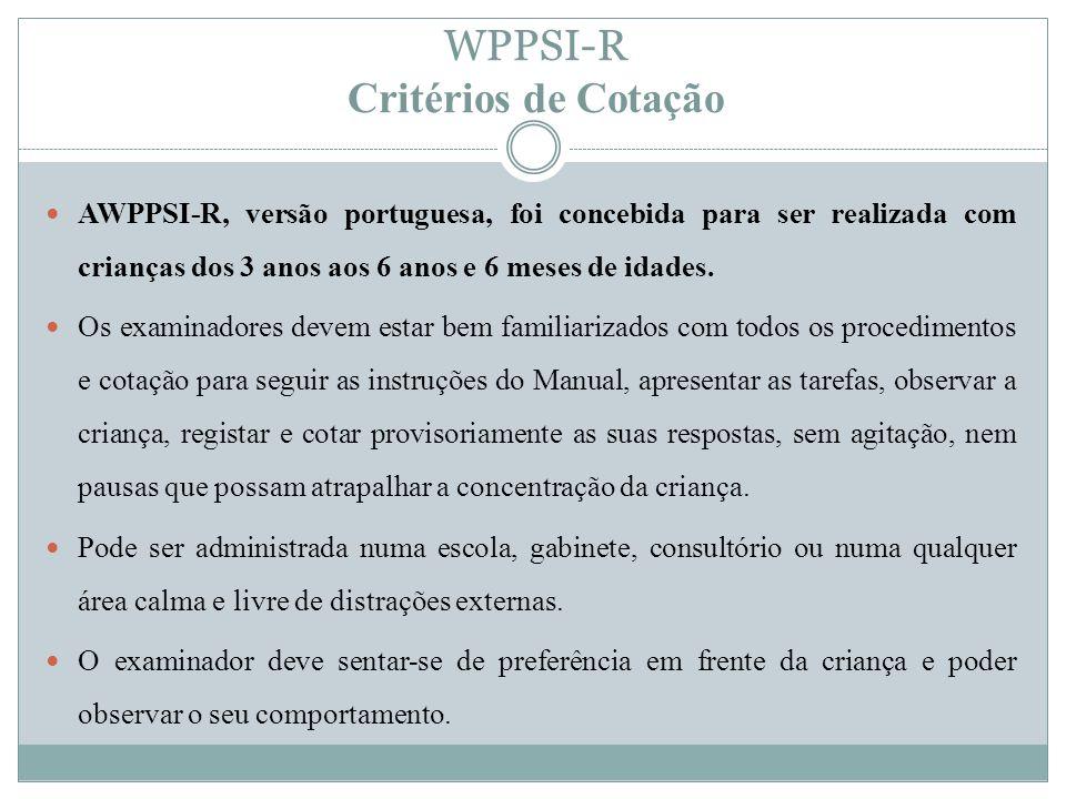 WPPSI-R Critérios de Cotação