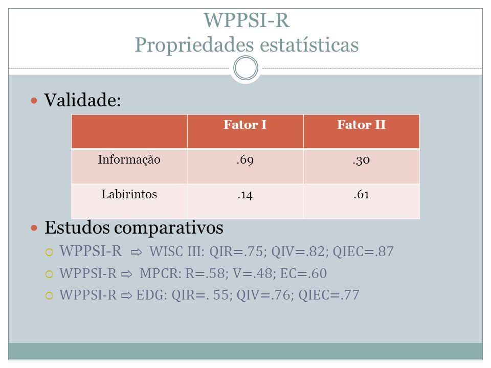WPPSI-R Propriedades estatísticas