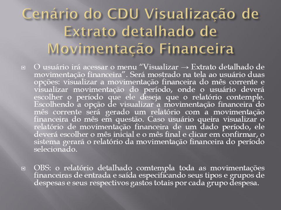 Cenário do CDU Visualização de Extrato detalhado de Movimentação Financeira