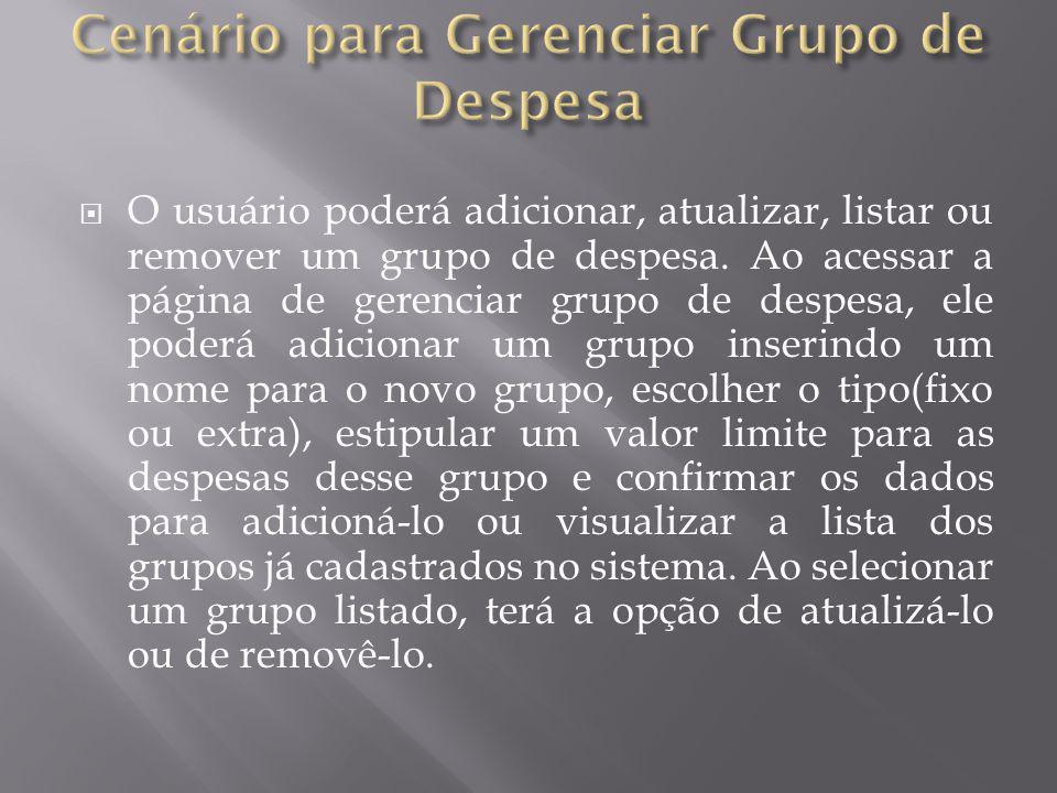 Cenário para Gerenciar Grupo de Despesa