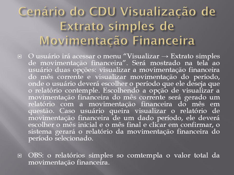 Cenário do CDU Visualização de Extrato simples de Movimentação Financeira