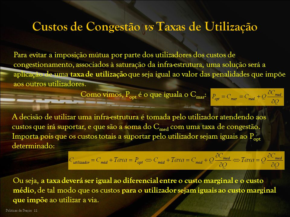Custos de Congestão vs Taxas de Utilização