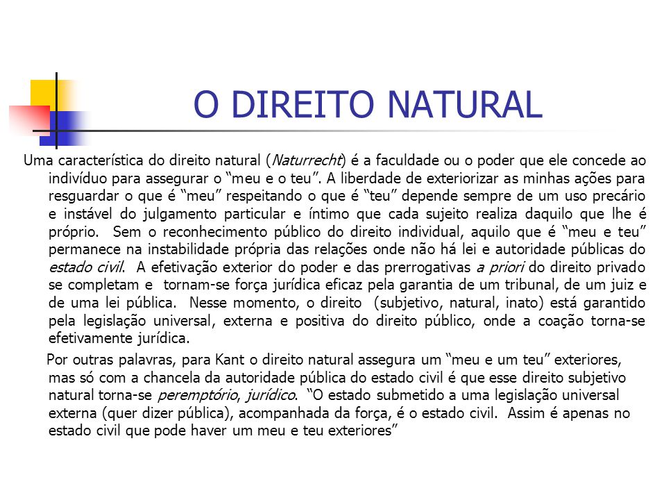O DIREITO NATURAL