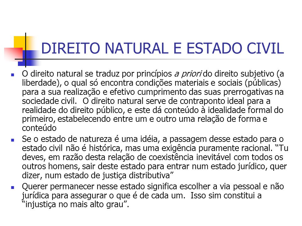DIREITO NATURAL E ESTADO CIVIL