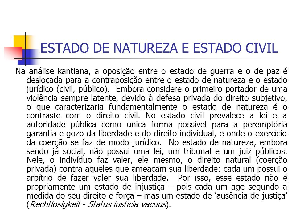 ESTADO DE NATUREZA E ESTADO CIVIL