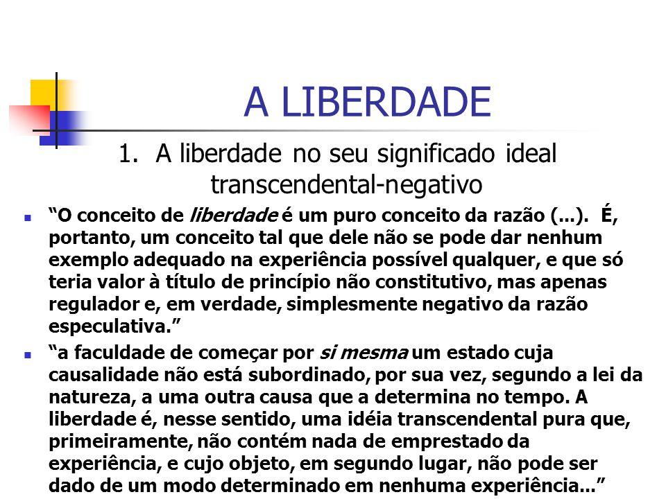 1. A liberdade no seu significado ideal transcendental-negativo