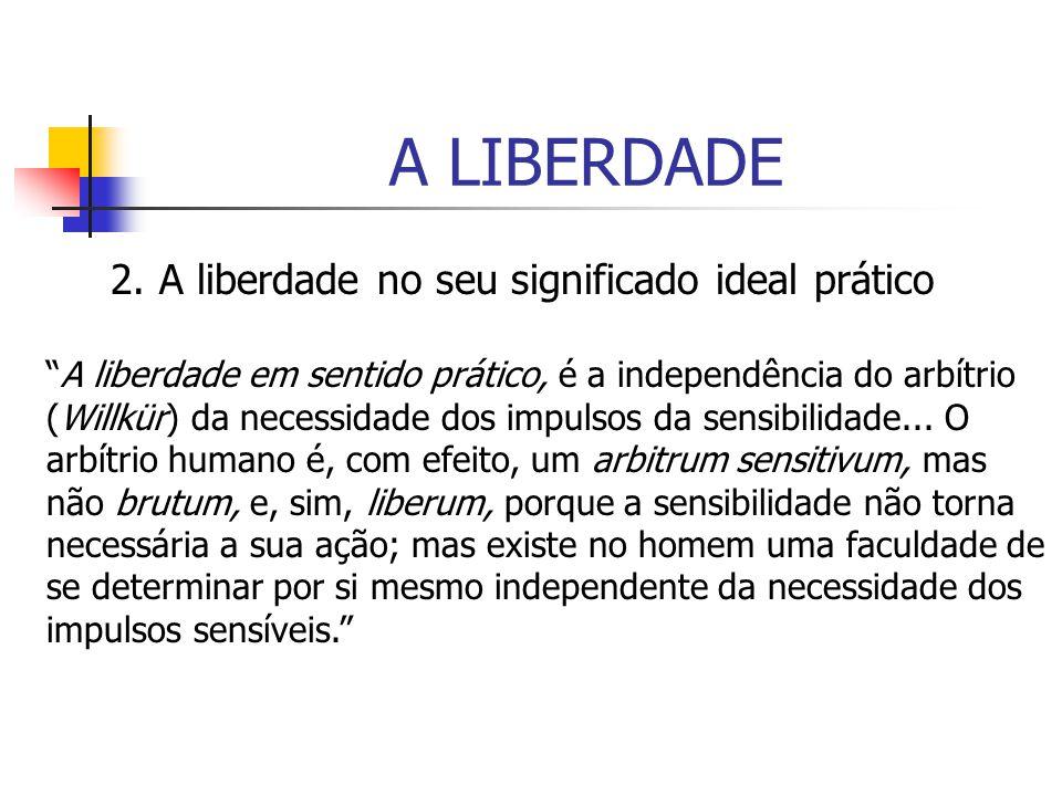 A LIBERDADE 2. A liberdade no seu significado ideal prático