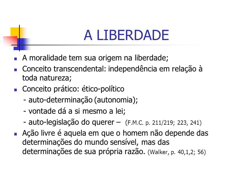 A LIBERDADE A moralidade tem sua origem na liberdade;