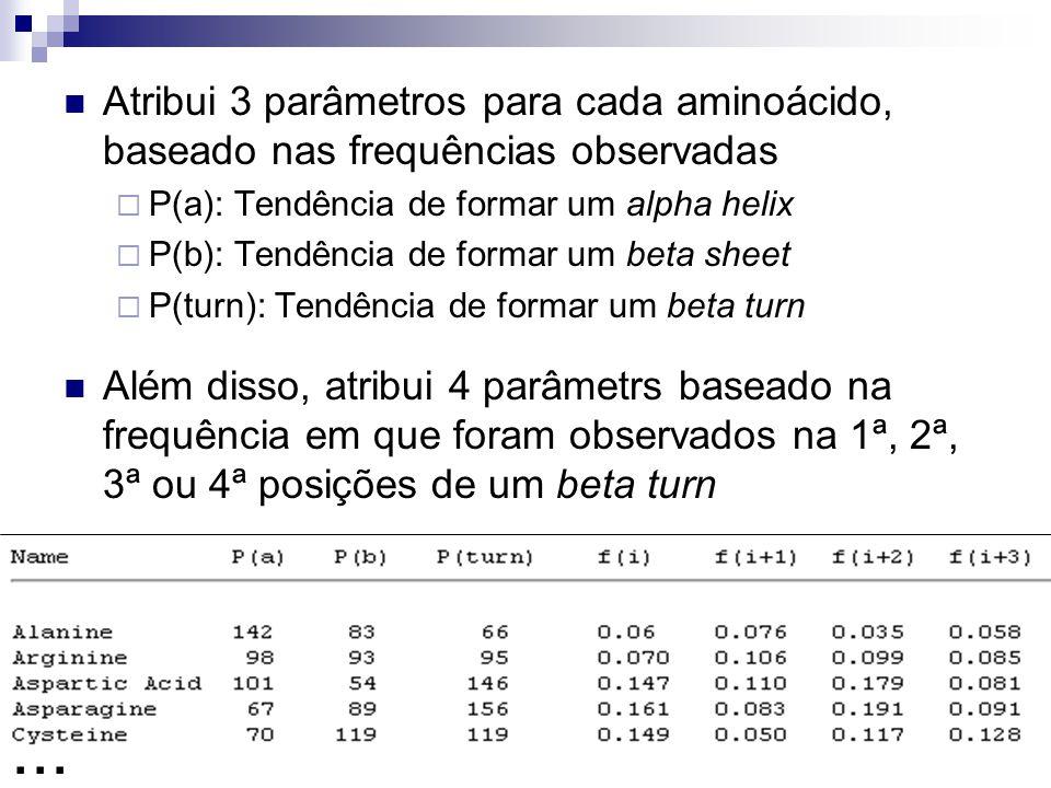 Atribui 3 parâmetros para cada aminoácido, baseado nas frequências observadas