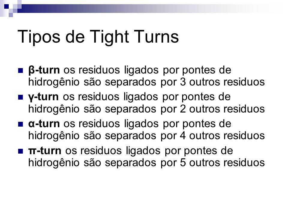 Tipos de Tight Turns β-turn os residuos ligados por pontes de hidrogênio são separados por 3 outros residuos.