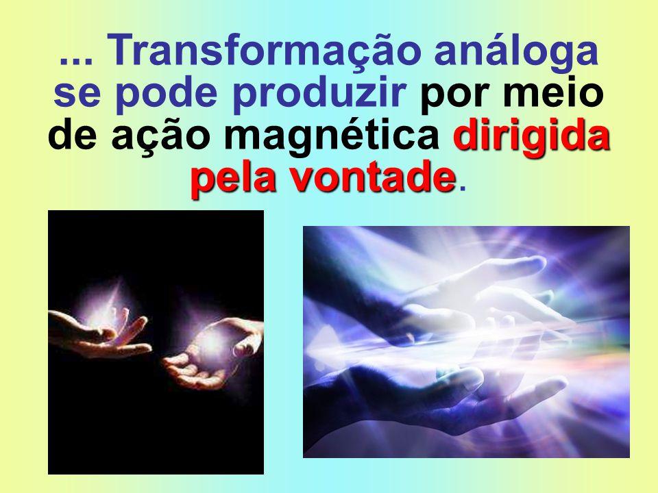 ... Transformação análoga se pode produzir por meio de ação magnética dirigida pela vontade.
