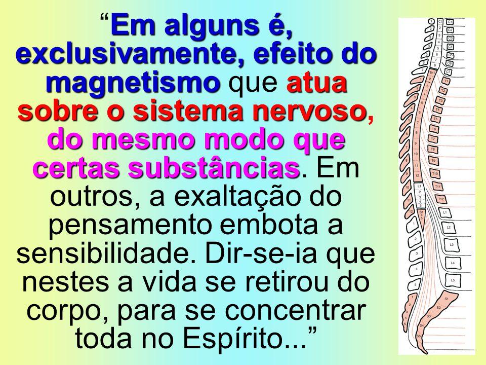 Em alguns é, exclusivamente, efeito do magnetismo que atua sobre o sistema nervoso, do mesmo modo que certas substâncias.