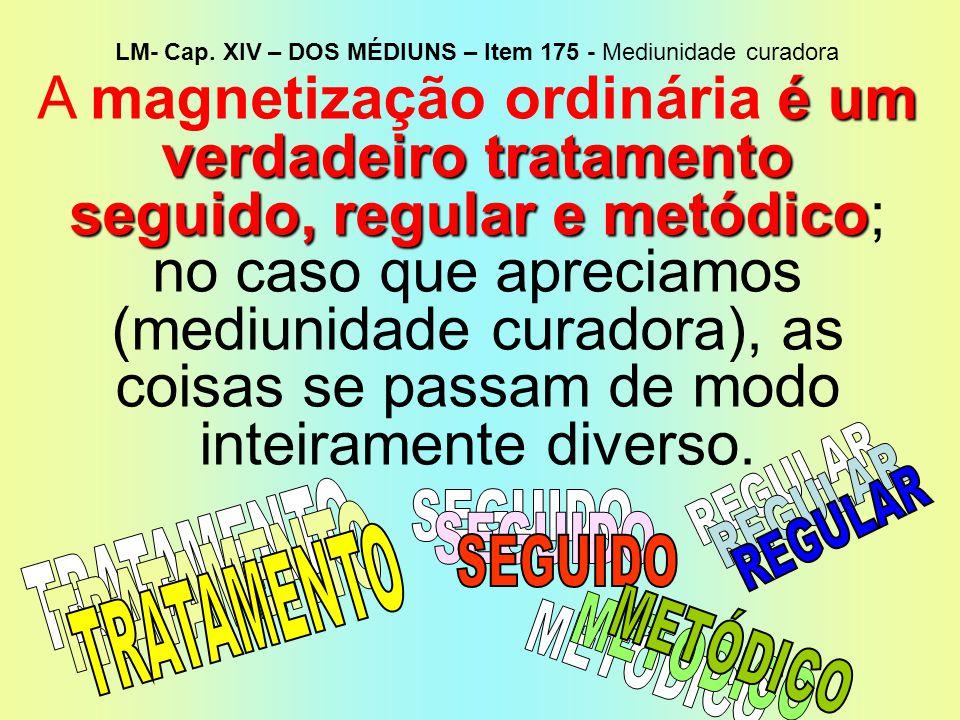 LM- Cap. XIV – DOS MÉDIUNS – Item 175 - Mediunidade curadora
