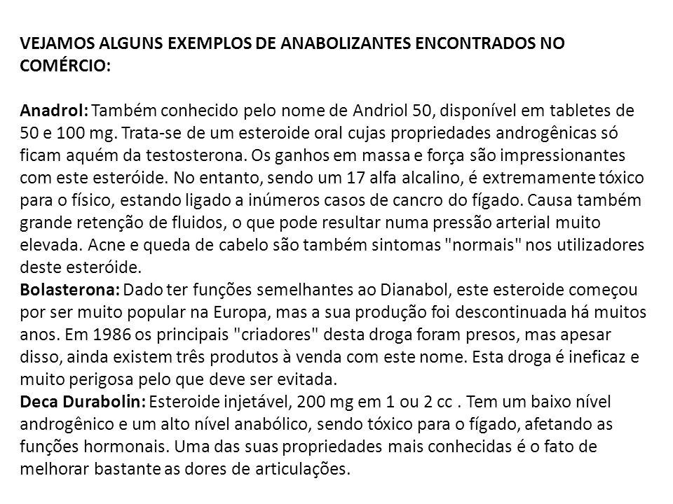 VEJAMOS ALGUNS EXEMPLOS DE ANABOLIZANTES ENCONTRADOS NO COMÉRCIO: Anadrol: Também conhecido pelo nome de Andriol 50, disponível em tabletes de 50 e 100 mg.