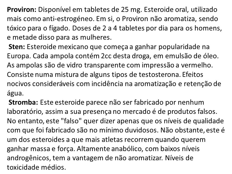 Proviron: Disponível em tabletes de 25 mg