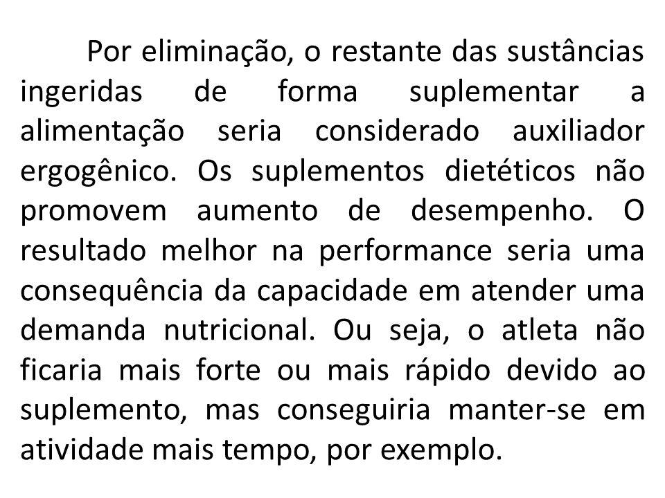 Por eliminação, o restante das sustâncias ingeridas de forma suplementar a alimentação seria considerado auxiliador ergogênico.