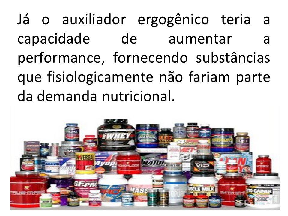Já o auxiliador ergogênico teria a capacidade de aumentar a performance, fornecendo substâncias que fisiologicamente não fariam parte da demanda nutricional.
