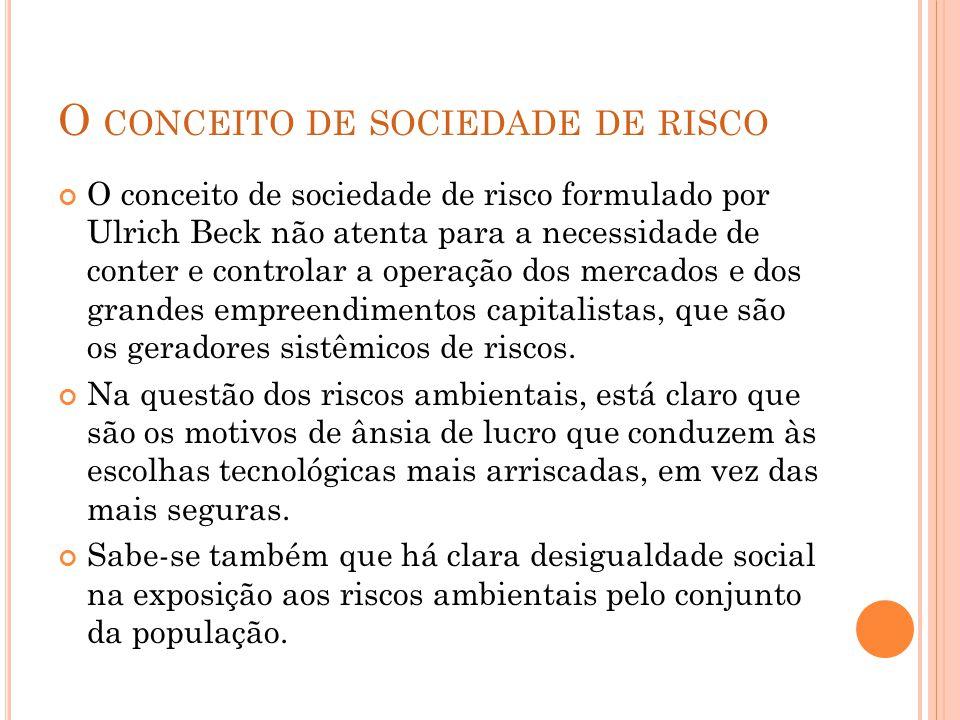 O conceito de sociedade de risco
