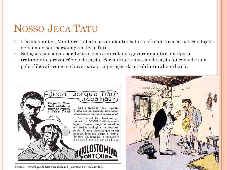 Nosso Jeca Tatu Décadas antes, Monteiro Lobato havia identificado tal círculo vicioso nas condições de vida de seu personagem Jeca Tatu.