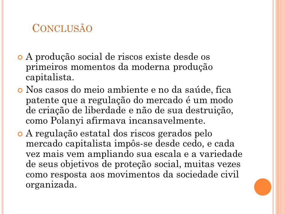 Conclusão A produção social de riscos existe desde os primeiros momentos da moderna produção capitalista.