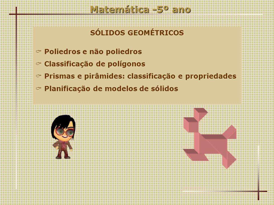 Matemática -5º ano SÓLIDOS GEOMÉTRICOS Poliedros e não poliedros