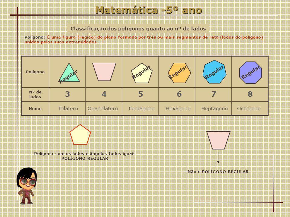 Matemática -5º ano Classificação dos polígonos quanto ao nº de lados.