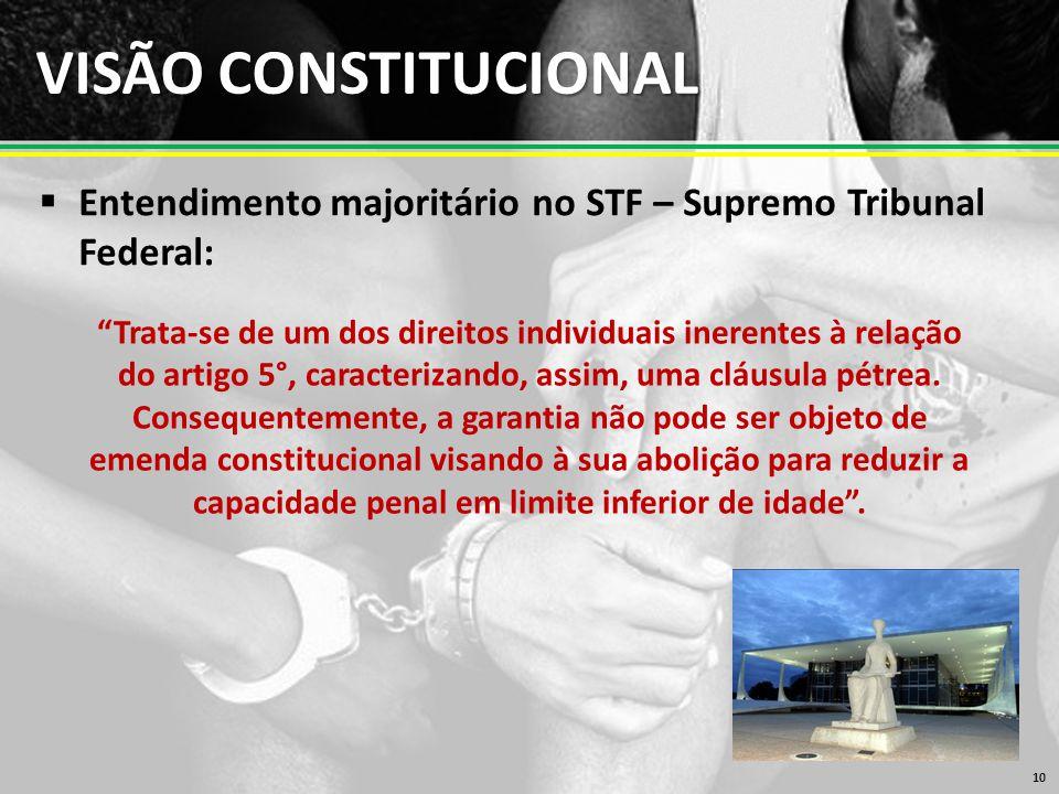 VISÃO CONSTITUCIONAL Entendimento majoritário no STF – Supremo Tribunal Federal: