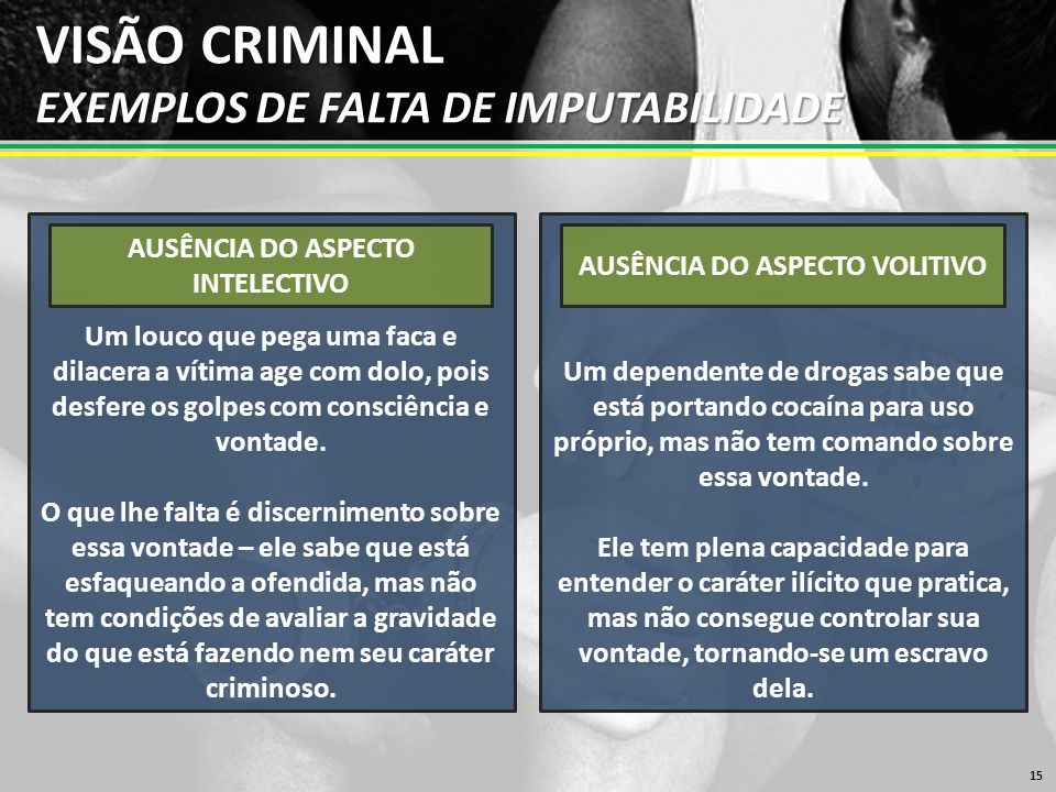 VISÃO CRIMINAL EXEMPLOS DE FALTA DE IMPUTABILIDADE