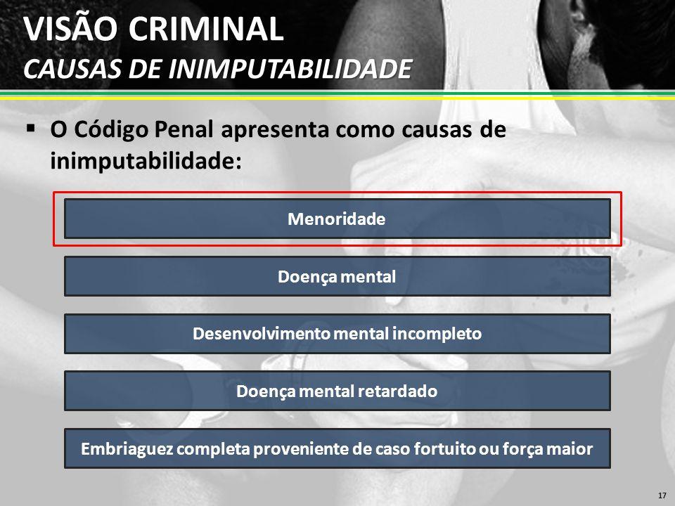 VISÃO CRIMINAL CAUSAS DE INIMPUTABILIDADE