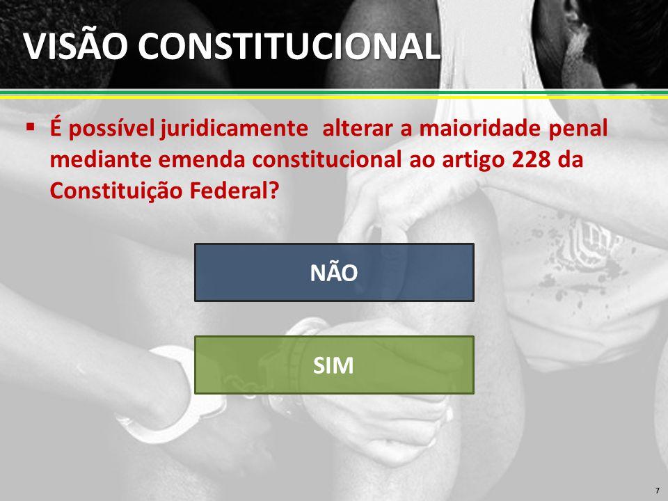 VISÃO CONSTITUCIONAL É possível juridicamente alterar a maioridade penal mediante emenda constitucional ao artigo 228 da Constituição Federal