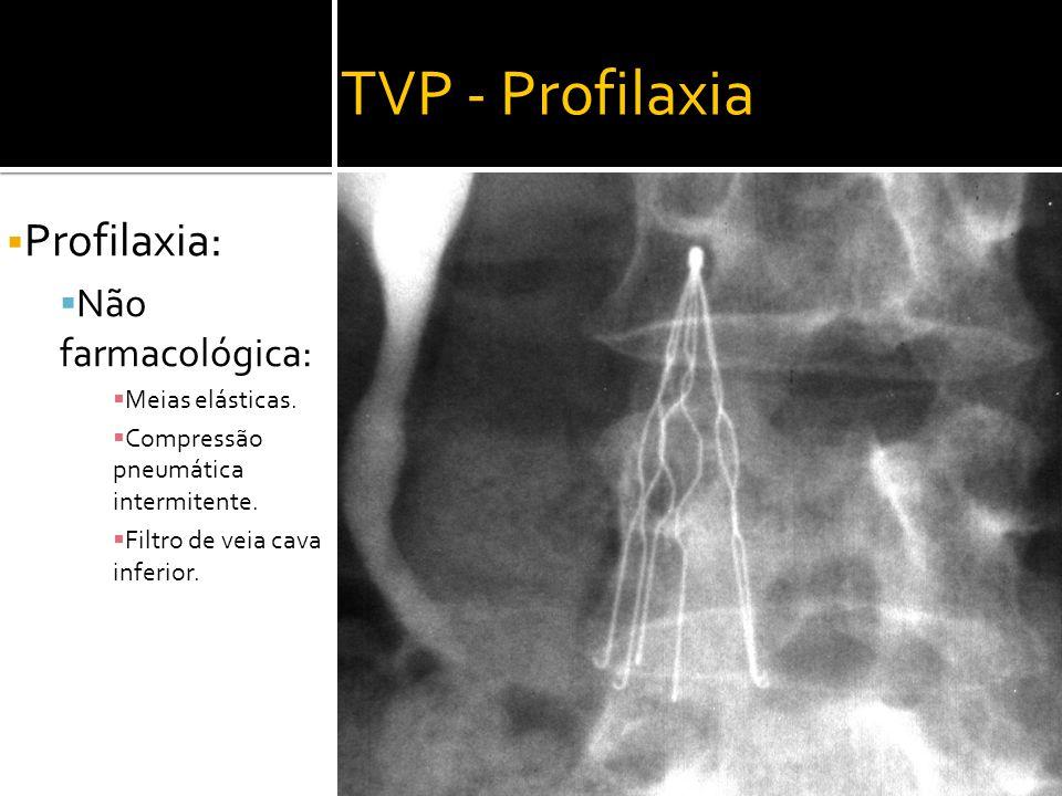 TVP - Profilaxia Profilaxia: Não farmacológica: Meias elásticas.