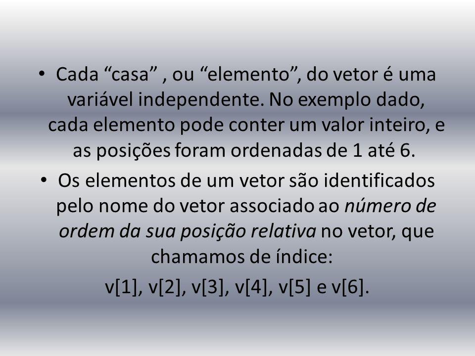Cada casa , ou elemento , do vetor é uma variável independente