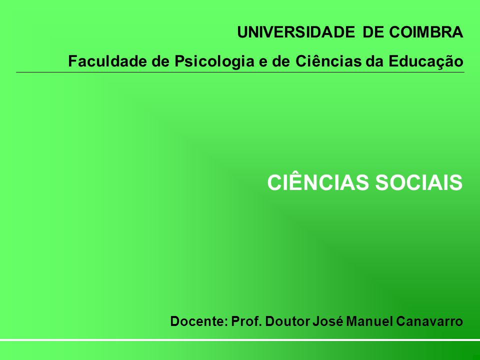 CIÊNCIAS SOCIAIS UNIVERSIDADE DE COIMBRA