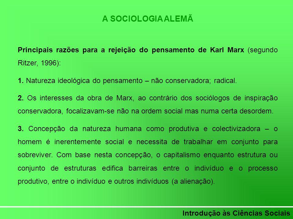 A SOCIOLOGIA ALEMÃ Principais razões para a rejeição do pensamento de Karl Marx (segundo Ritzer, 1996):