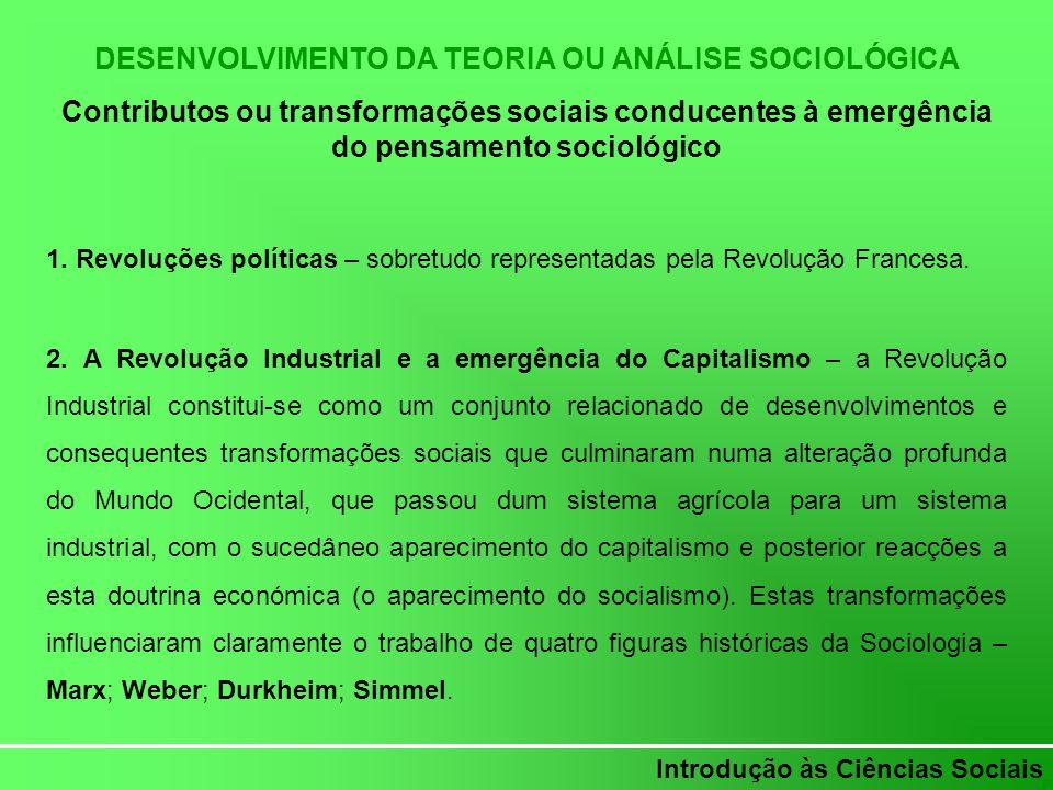 DESENVOLVIMENTO DA TEORIA OU ANÁLISE SOCIOLÓGICA